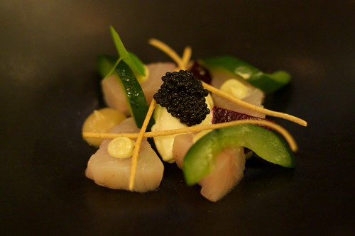 cured kingfish, smoked onion, seaweed vinegar, beetroot & rye