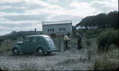 Blairgowrie with Percy & Betty Cornell Apr '58 (spelio) Tags: historic cornell bw print scans bettie family ford prefect car old added grandpa grandfather aunt bet vic australia shack rain tank retired elderly 222views051212 3292views040415fb fibro fave