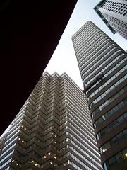 towering finance (trepelu) Tags: nyc newyorkcity newyork geometric mosaic financialdistrict skyward angular highrises reflectedsky roundedcorners sharpcorners