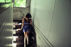 lookingatyoukid (yyellowbird) Tags: house selfportrait abandoned girl stairs illinois cari