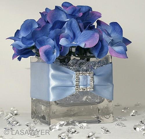 Blue Hydrangea Wedding Centerpiece