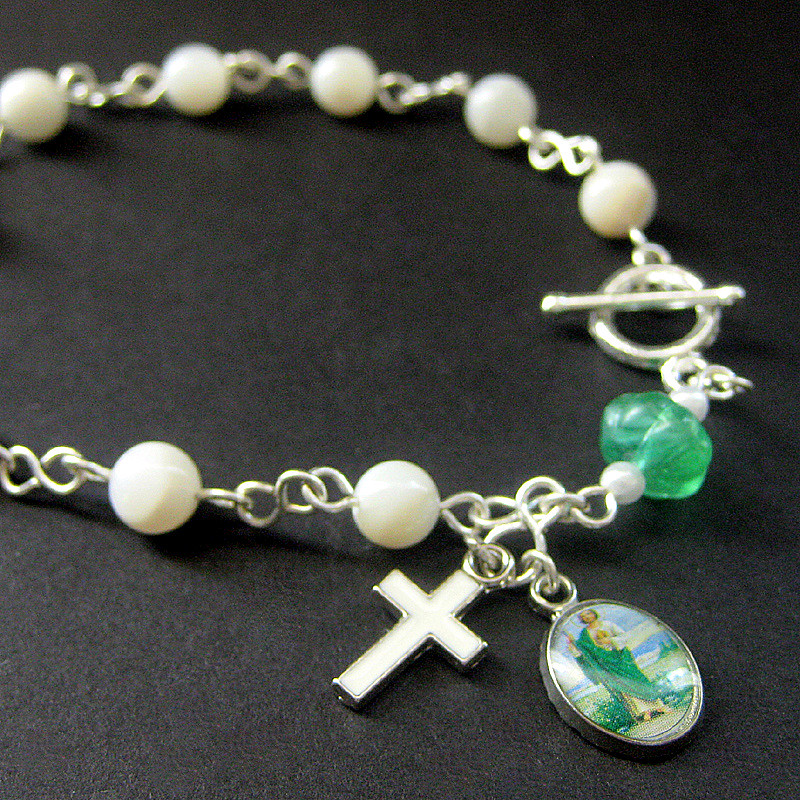 Verdent Green and Mother of Pearl Rosary Bracelet