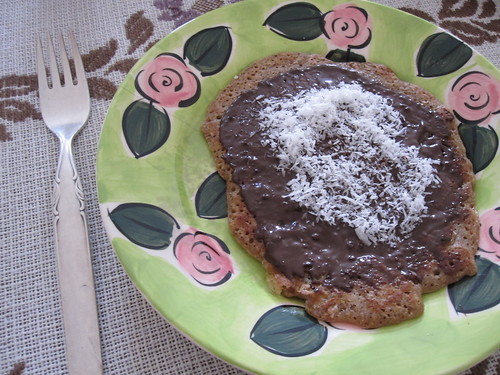 Vegan Pancakes with Chocolate Spread and Coconut