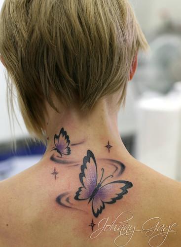 Butterfly Tattoo on Jugular Girl