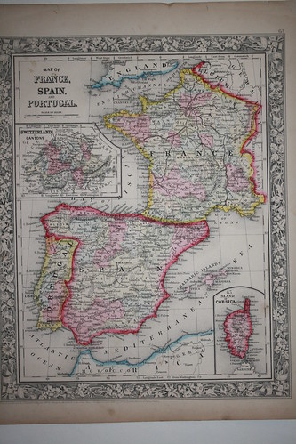 a map of spain and france. Map of Spain, France and