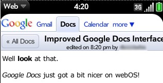 Google Docs on webOS