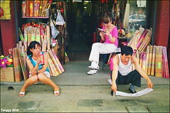 Beijing people *1 (Twiggy Tu) Tags: china street trip travel people film beijing stranger contaxrx carlzeissdistagont35mmf28  nearbyyonghetemple