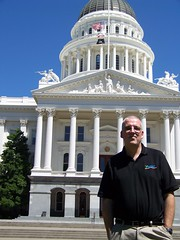 Justin in front of Sacramento California Capitol