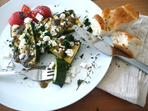 grilled zucchini with dill and goat's cheese