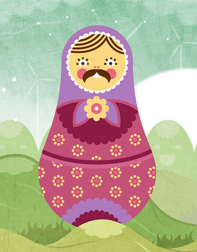 Moustached Russian Doll Boss Character