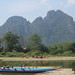 Boats on the riverside, Vang Vieng