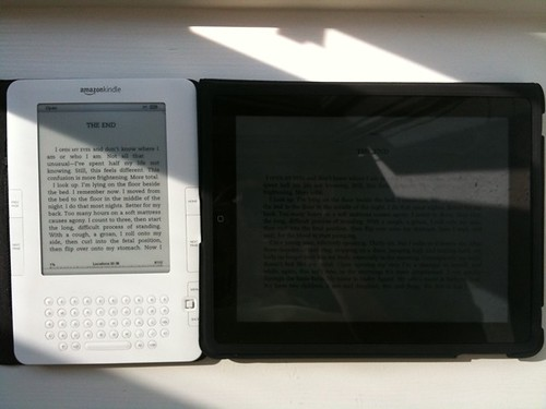 The Kindle is awesome in the sun. The iPad... Not so much.