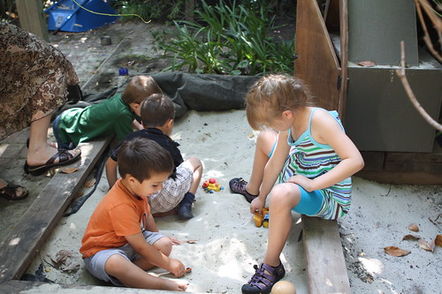 Finn, Devon, Ezra and Trevor in the sand box