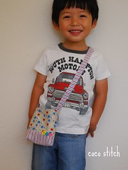 shoulder bag for toddler - Boy (coco stitch) Tags: blue boy red animal bag grey toddler gift etsy shoulderbag japanesefabric cocostitch