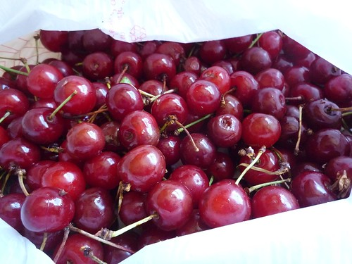 Sour cherries, still in the bag