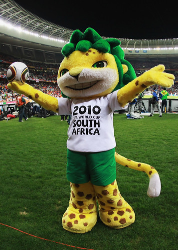 CAPE TOWN, SOUTH AFRICA - JULY 06: Zakumi, the official mascot, ahead of the 2010 FIFA World Cup South Africa Semi Final match between Uruguay and the