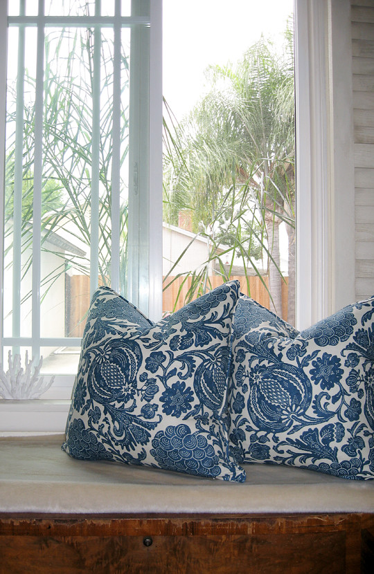 Bedroom Window+Barclay Butera Pillows+Palms+blue and white floral print+overcast day