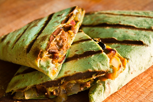 Brisket & Grilled Onion Quesadillas on Spinach Tortillas