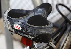 Like an Old Shoe (Just George 2) Tags: bike bicycle dof mesh bell bokeh seat worn gs saddle suede raggedy canoneos5dmarkii canonef100mmf28lmacroisusm