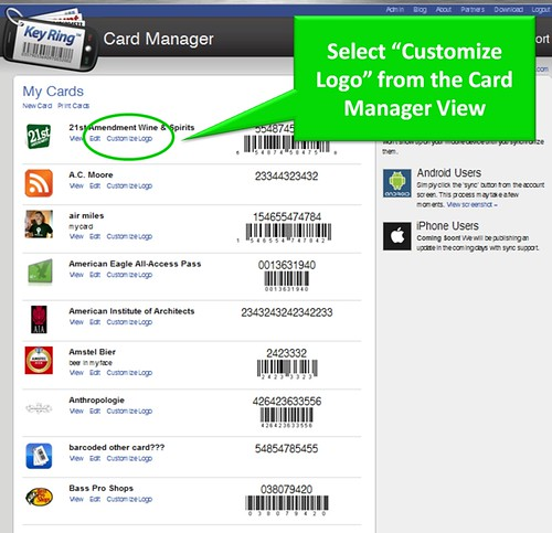 select customize logo from card manager view