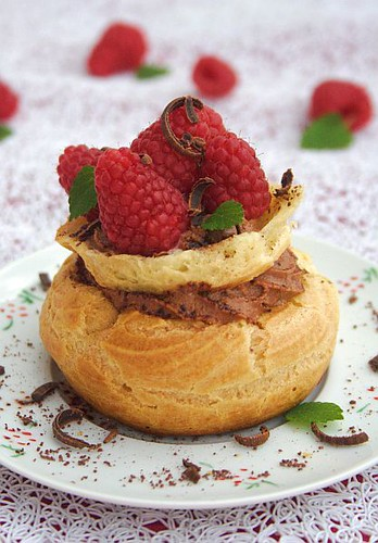 Raspberry & Chocolate Cream Puffs