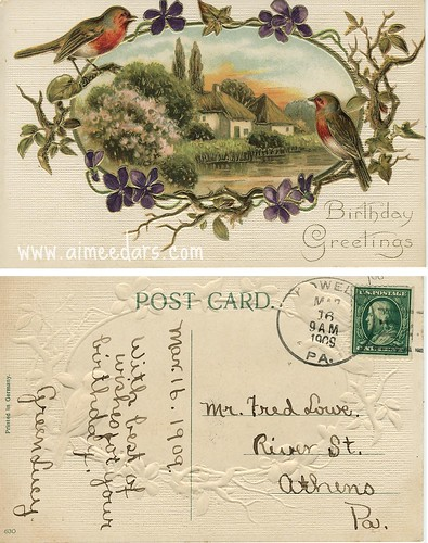 POSTCARD: Birthday - Birds (1909)
