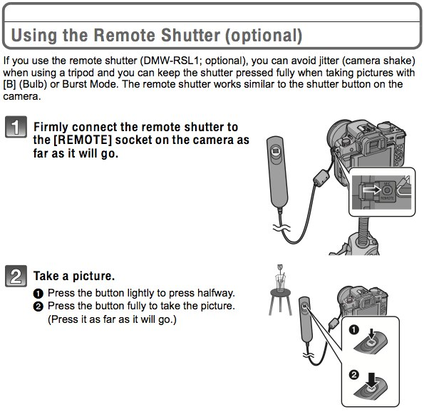 Using the Panasonic DMW-RSL1 cable shutter release remote control, as documented on page 179 of the Panasonic G2 Manual