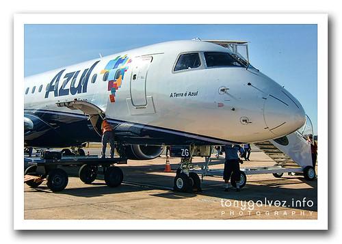 Azul preparándose para volar al extranjero