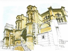 Mlaga, cathedral, south facade (Luis_Ruiz) Tags: architecture sketch spain cathedral drawing perspective catedral andalucia andalusia dibujo malaga mlaga urbansketchers