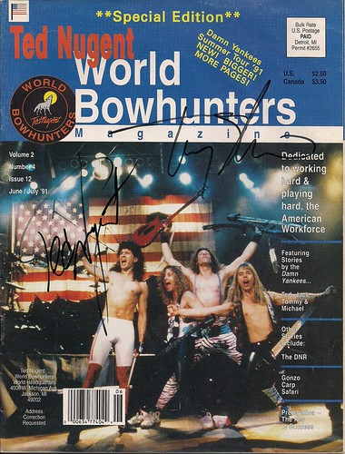 June-July 1991 Ted Nugent World Bowhunters Magazine (Autographed by Ted Nugent & Tommy Shaw)