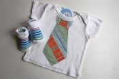 Dapper set - appliqued t-shirt & matching socks - newborn