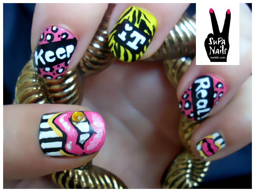 Nails · # Nail Art · # Keep · # It · # Real · # Pink · # Yellow · # Black