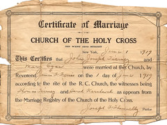 Mary Egan & John Tierney Marriage Certificate