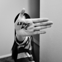 Leave Me (Annie Hall Photography) Tags: blackandwhite selfportrait writing hand sharpie leaveme serend1p1tyx