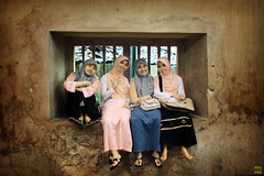 friends are God's way of apologizing to us for our families.. (M3R) Tags: girls friends people underground indonesia 4 hijab mosque infrared jogja tamansari indonesian moslem centraljava jilbab canonef24105mmf4lisusm harlimv98