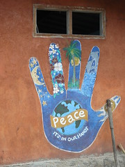 peace its in our hands (F-e-m-m-i-e) Tags: indonesia peace hand lombok wallpainting giliair lombokindonesia