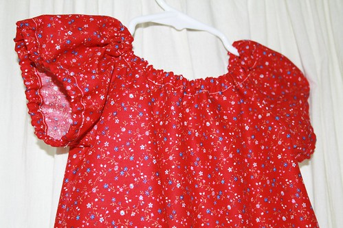 2nd Birthday Dress - closeup of sleeves & neckline
