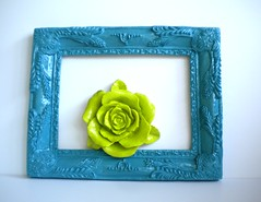 alluring blue (amye123) Tags: blue green home rose wall vintage colorful bright handmade turquoise teal painted frame lime ornate baroque decor eclectic bohemian homedecor pictureframe reclaimed upcycle amye123