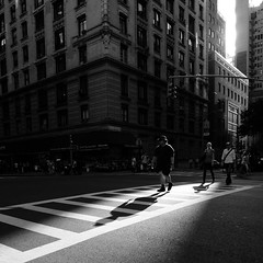Crossing in the Sunlight (Airicsson) Tags: street new york city nyc shadow summer urban blackandwhite bw usa sun sunlight white ny man black island lumix us crossing cross walk manhattan panasonic 2010 streetshot lx3 platinumheartaward