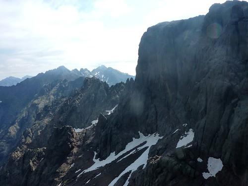 Sommet du Tafonatu : face W de la Paglia Orba et Grande Barrière depuis la voie de montée au sommet N
