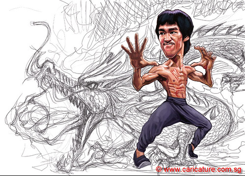 digital caricature of Bruce Lee - 6 small