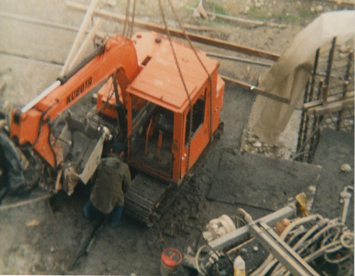 GF Cave Excavating, working on the skybridge, 1988