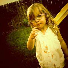 "Photo-A-Day ""Malia"" (keri_friedman) Tags: portrait food girl oregon portland glasses kid backyard child malia messy photoaday littlegirl pdx swingset 365 spill android droid"