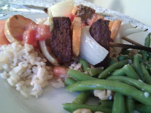 Vegetarian Kabobs on Brown Rice