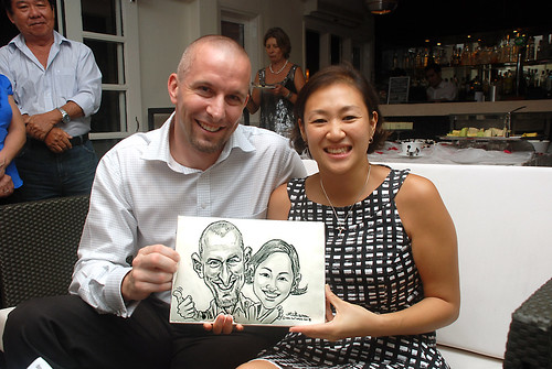 caricature live sketching for David & Christine wedding dinner - 21