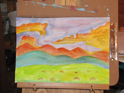 sunset painting, 7/21/10. watercolor