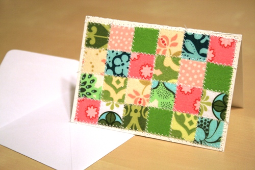 fabric covered thank you card