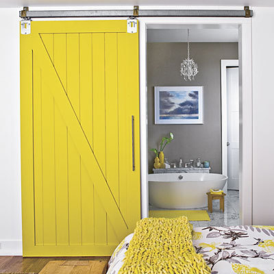 A sliding barn door - cool!!