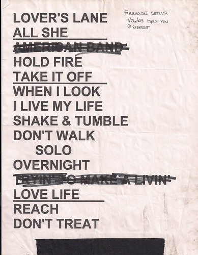 07/26/03 Firehouse @ Ribfest, Minneapolis, MN (Setlist)