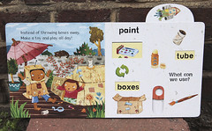 Recycle! (Christiane*) Tags: boy green girl collage kids cat garden paper toys robot paint published board glue books brush deck cardboard parasol learning childrens environment rocket boxes walls recycle eco reuse reduce christianeengel pushuptabs